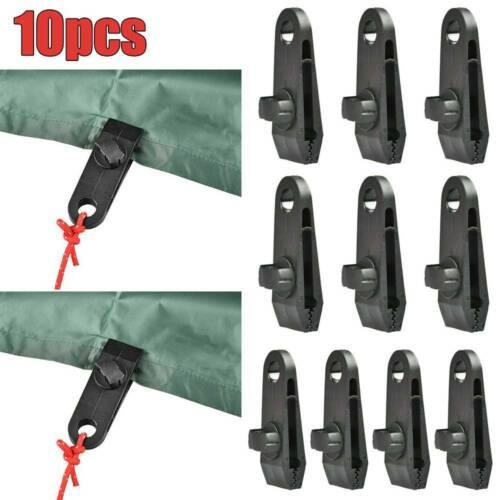 10PCS Reusable Clip Awning Clamp Tarp Clips Snap Hanger Tent Camping Survival UK