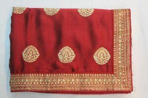Bollywood-Silk-Georgette-Metallic-Maroon-Saree-Indian-Sari-Bridal-Party-Dress