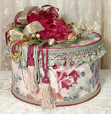 Large Round Red & Green Victorian Hat Box / Keepsake - Vintage Style -
