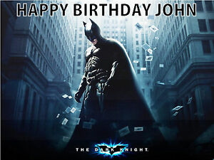 BATMAN DARK KNIGHT PERSONALISED EDIBLE BIRTHDAY CAKE TOPPER - Dark knight birthday cake