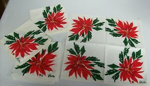 Vintage-VERA-Bright-Red-POINSETTIA-Christmas-Napkins