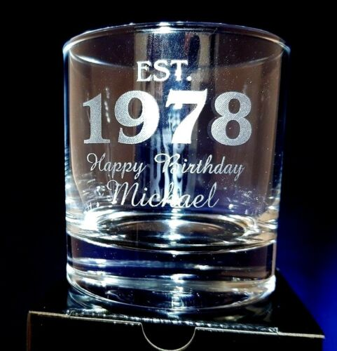 PERSONALISED WHISKEY GLASS established 1998 21st birthday gift any message