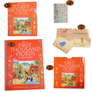 Learn-Spanish-words-book-flash-cards-dictionary-sticker-book-pack-from-Usborne