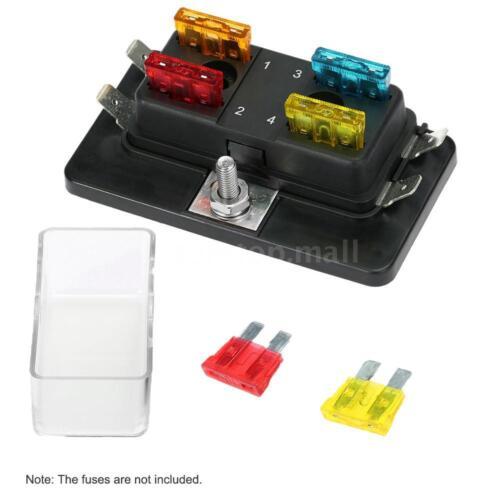 4 Way Automotive Boat Car Circuit Standard Blade Fuse Box Block Holder 12V//24V