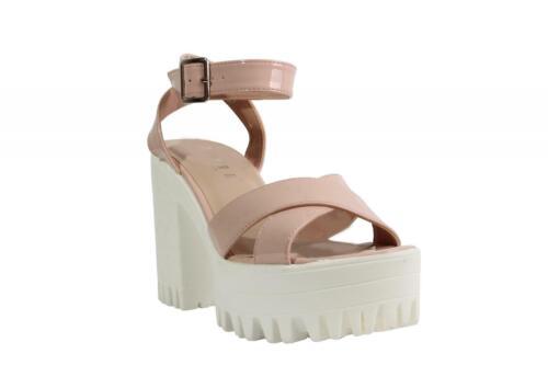 New Ladies Women Strap Chunky Platform Heeled Open Toe Sandals Size 3-8