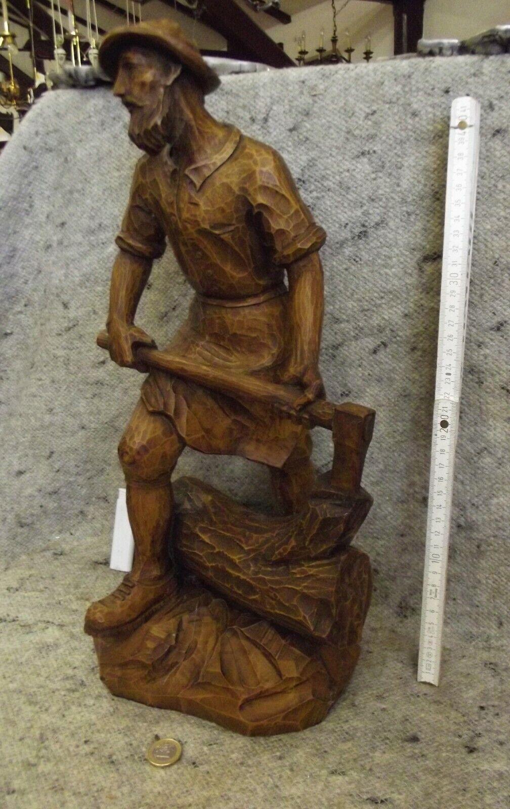 Holzskulptur, vollplastisch, groß, geschnitzt, Holzarbeiter, Patina, Qualität