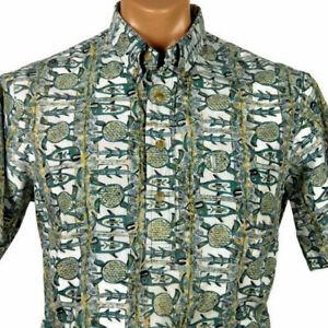 Kahala-Hawaiian-Aloha-Pullover-Shirt-Mens-M-Turtles-Fish-All-Over-Print