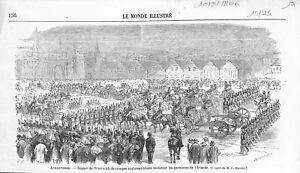 Angleterre Départ Woolwich Troupe British Army Garnison En Irlande Gravure 1866