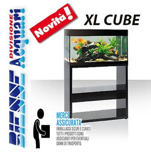 ACQUARIO NOVITA' ASKOLL PURE XL HIGH CUBE LED COMPLETO CON MOBILE NERO