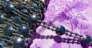 Ancien Galon De Perles Et Cabochons De Jais Verre De Paris Fin Xixe De 3 Mètres Belle Qualité