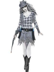 COSTUME-DA-FANTASMA-WESTERN-Cowboy-Carnevale-Halloween-Donna-Abito-Vestito