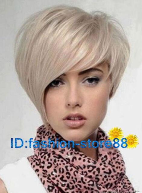 New Light Blonde Straight Wavy Hair Wigs Fashion Short Women's Wig