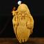 "thumbnail 1 - 3.1"" Chinese Box-wood Hand Carving Taoism Longevity God Old Man Statue Pendant"