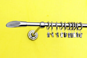Gardinenstange Komplett 16mm mit Endkappe Bambus und Ringen,Metall Edelstahllook