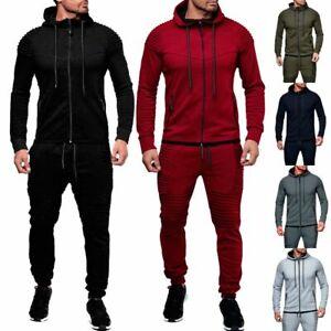 Men/'s Tracksuit Jogging Hoodie Coat Jacket Trousers Pants Sports Sweat Suits Set