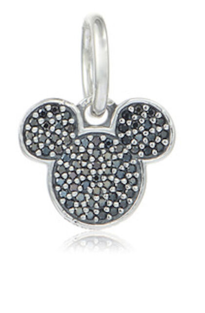 PAVE MICKEY MOUSE 925 Sterling Silver Solid Dangle Charm Bead Bracelet