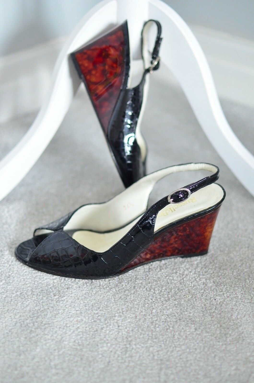RUSSELL & BROMLEY Patent croc print tortoiseshell wedge peep toe heels 36.5 3.5