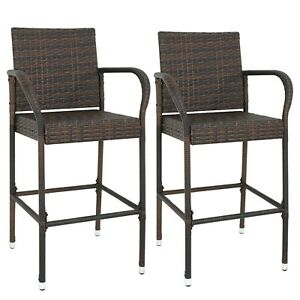 2PCS Rattan Wicker Bar Stool Outdoor Backyard Patio Furniture Chair with Armrest