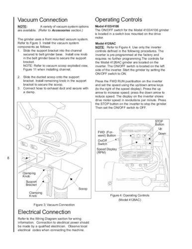 4106 4126AC Belt Grinder Op Instruct /&Parts Manual *314 Wilton Model 4103