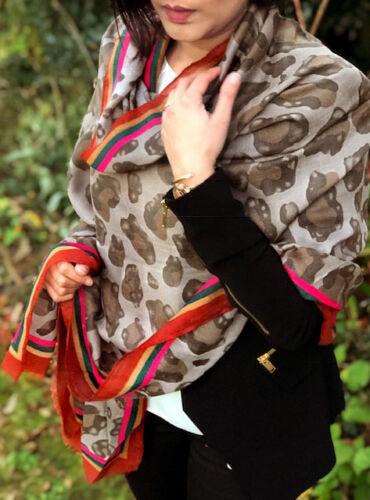 Large Leopard Print Scarf Long Shawl Wrap Pashmina Stole Animal Fashion Scarf