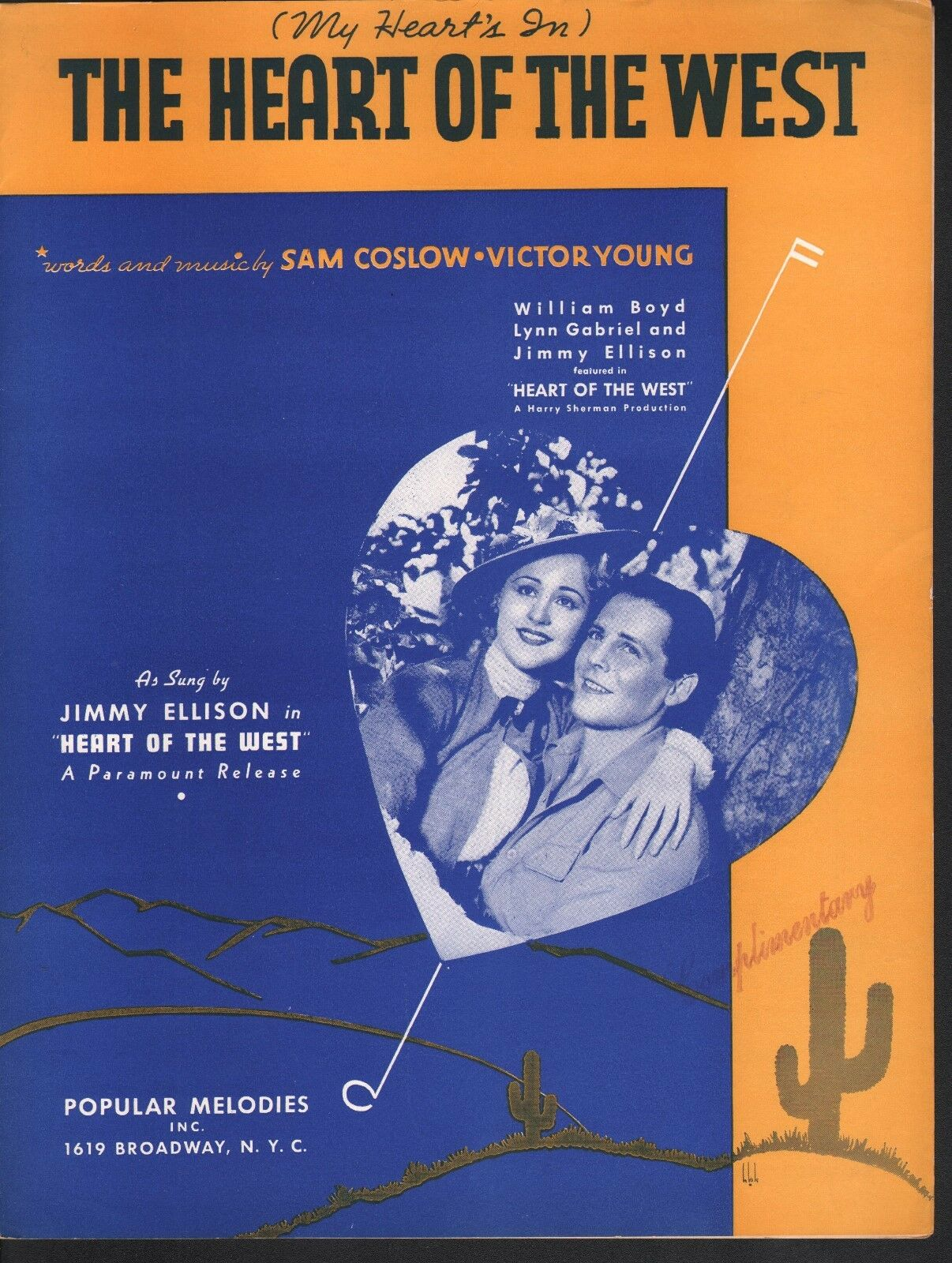 Corazón de Occidente 1936 William Boyd Jimmy Jimmy Jimmy Ellison Lynn Gabriel Partituras  primera vez respuesta