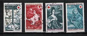 Lot-de-4-Timbres-France-OBL-Croix-Rouge-OB-25