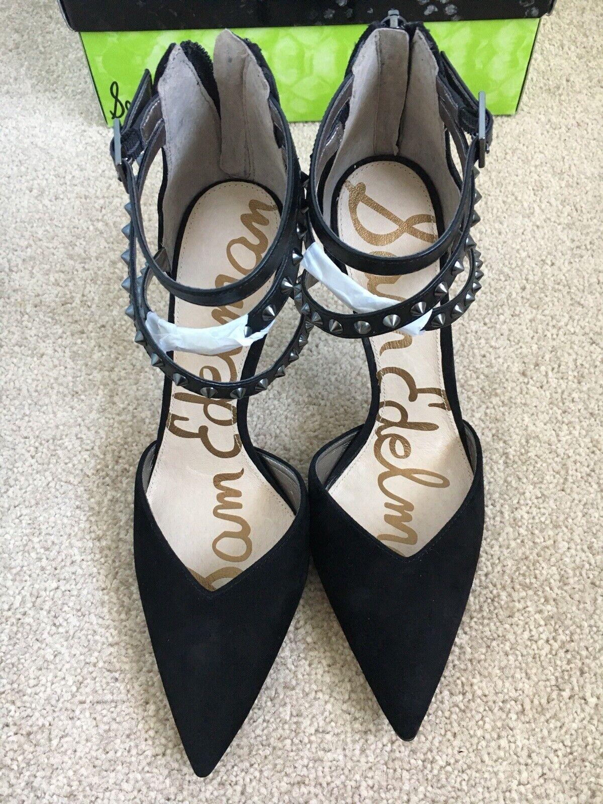 Sam Edelman Darla Studded Strap Heeled Heeled Heeled Black Suede shoes Size US6 (fit UK4) BNIB 277953
