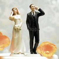 Bride and Groom Calling Funny Wedding Cake Toppers Decoration Resin Figurine
