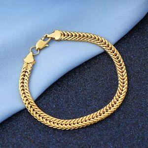 6mm-18K-Yellow-Gold-Plated-Bracelet-Bangle-Chain-Fashion-Women-Men-Punk-Jewelry