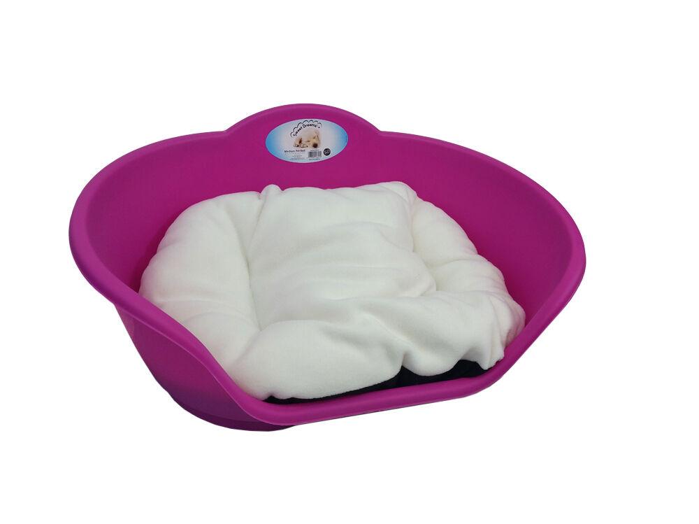 Extra Large Plastic FUCHSIA PINK Dog Pet Bed With CREAM cushion   Dog Cat Basket