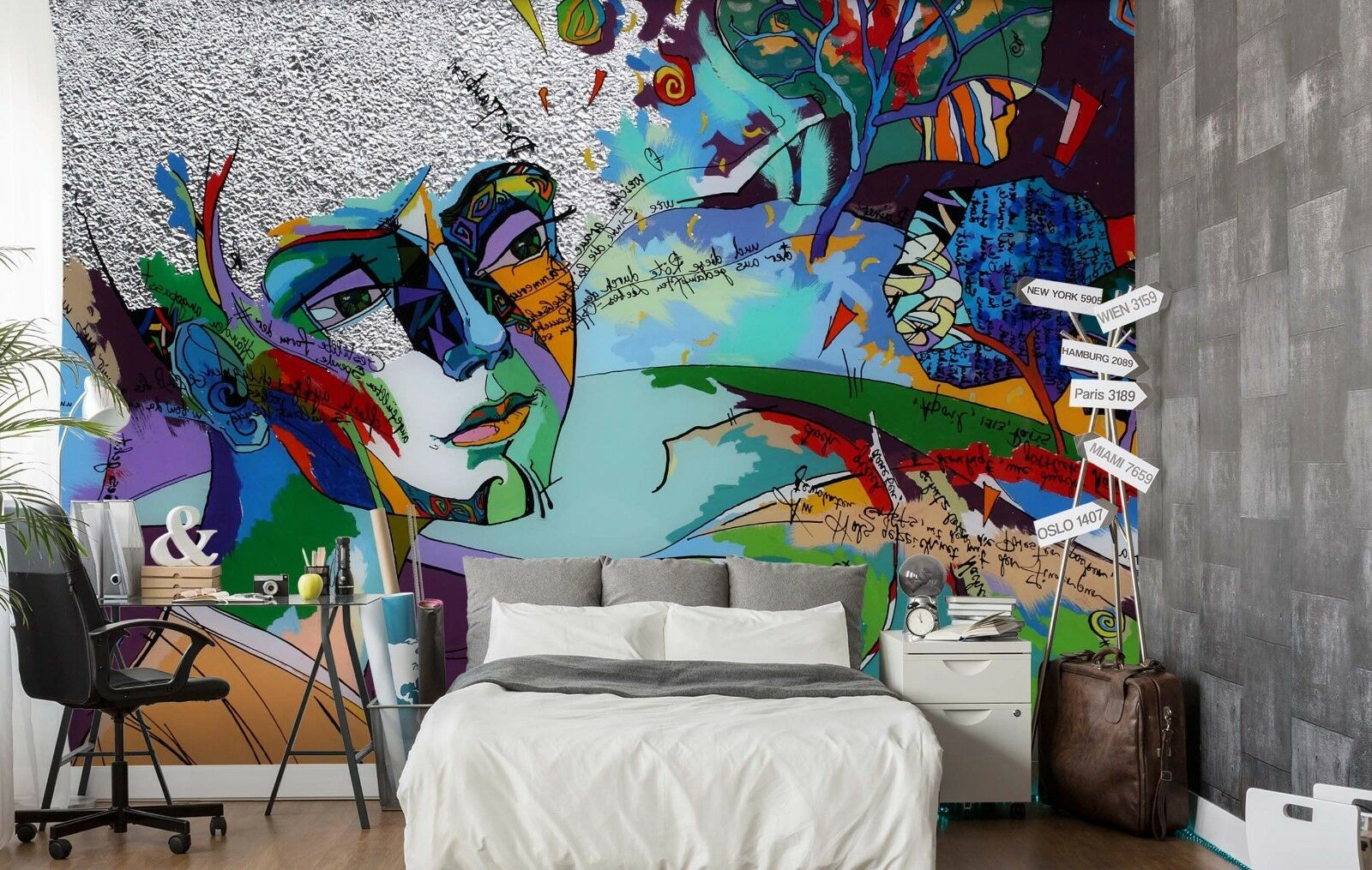 3D Graffiti Face 7 Wall Paper Print Wall Decal Deco Indoor Wall Murals US Summer