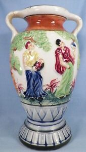 Vintage Hand Painted Vase Urn Japan Greek People Bearing Food Large AS IS