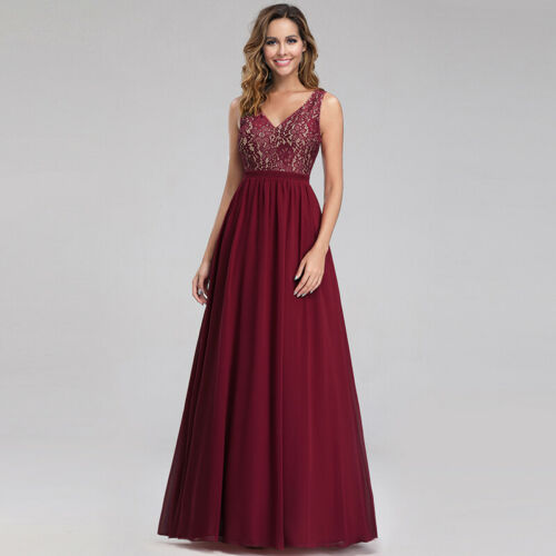UK Ever-Pretty Burgundy Double V-neck Long Bridesmaid Dress Lace Prom Ball Gowns