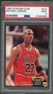 Michael Jordan Chicago Bulls 1992 Topps Stadium Club Basketball Card #210 PSA 9