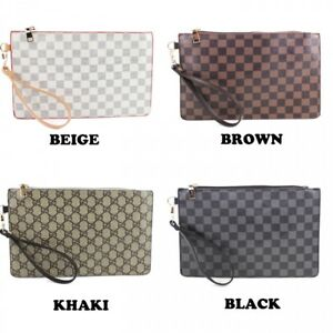 Image is loading NEW-LADIES-ENVELOPE-STYLE-SLIM-DESIGN-CHECKERED-PATTERNED- 62d9c69238