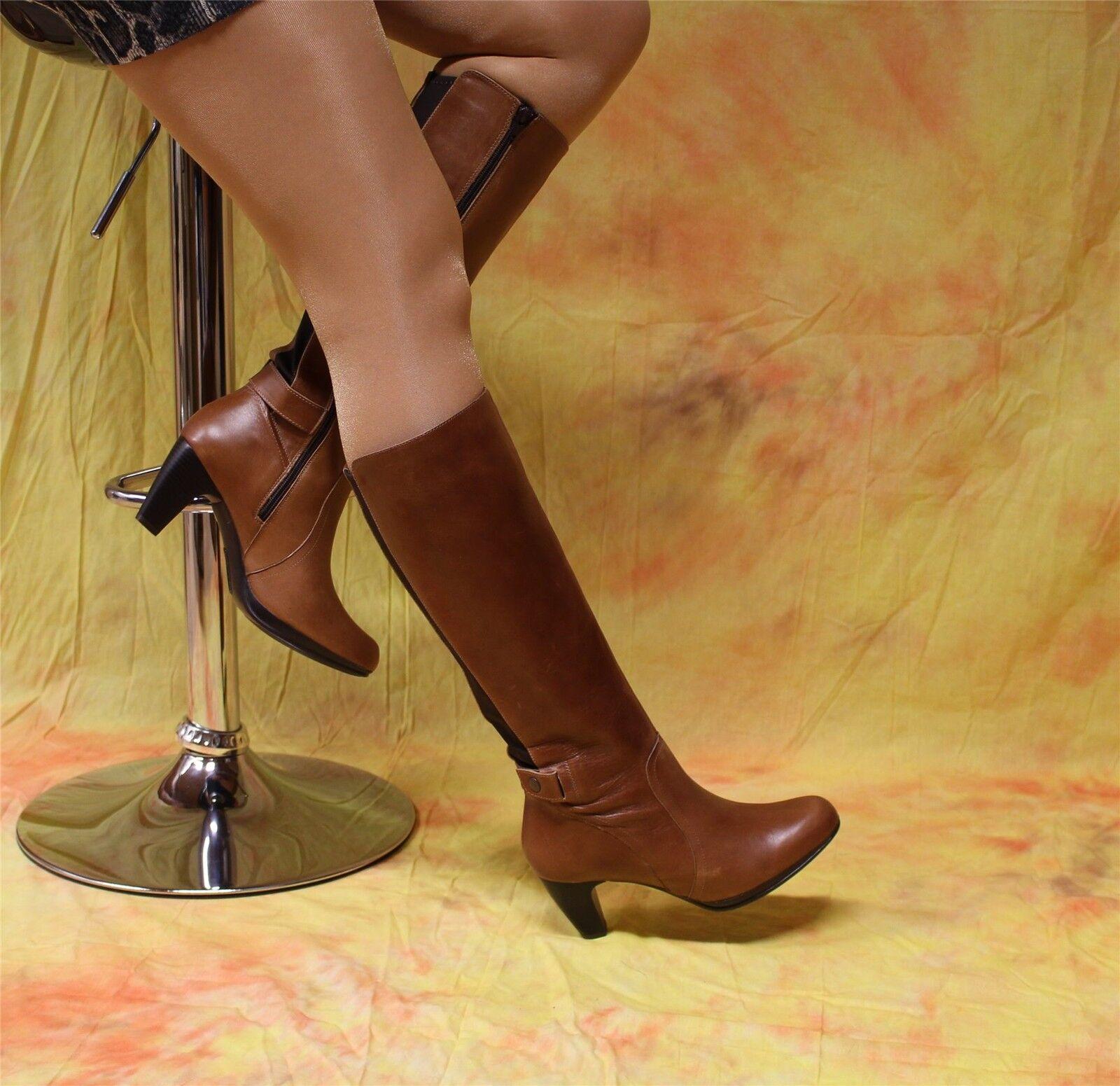 Andrea-cómodo marrones botas de cuero con uso textil