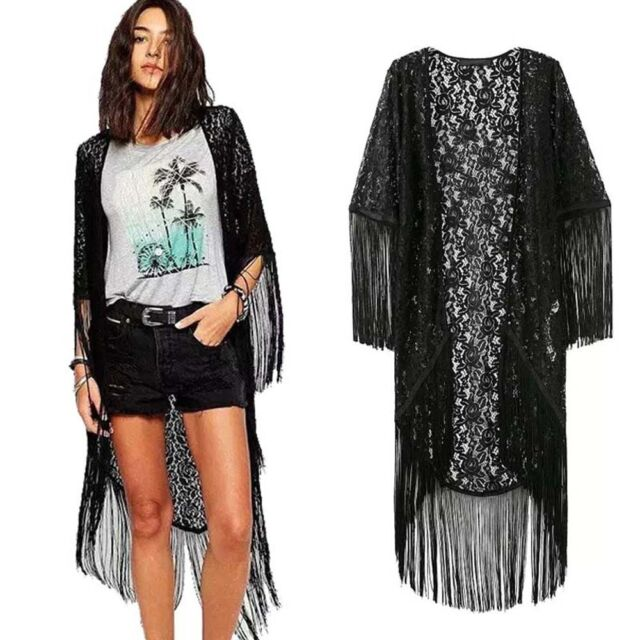 Women Lace Jackets Hollow Floral Tassel Kimono Shawl Cardigan Blouse Coat Tops