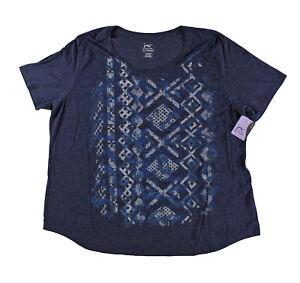 54ffe0b74d02d Just My Size JMS Plus Size Navy Tee Shirt T-shirt Short Sleeve Top ...