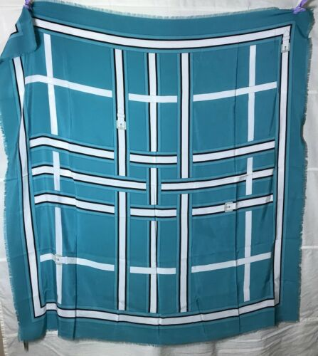 Turquois Sciarpa Burberry Turchia Tuch Seidentuch Frindges Carre French Foulard eCxWrodB