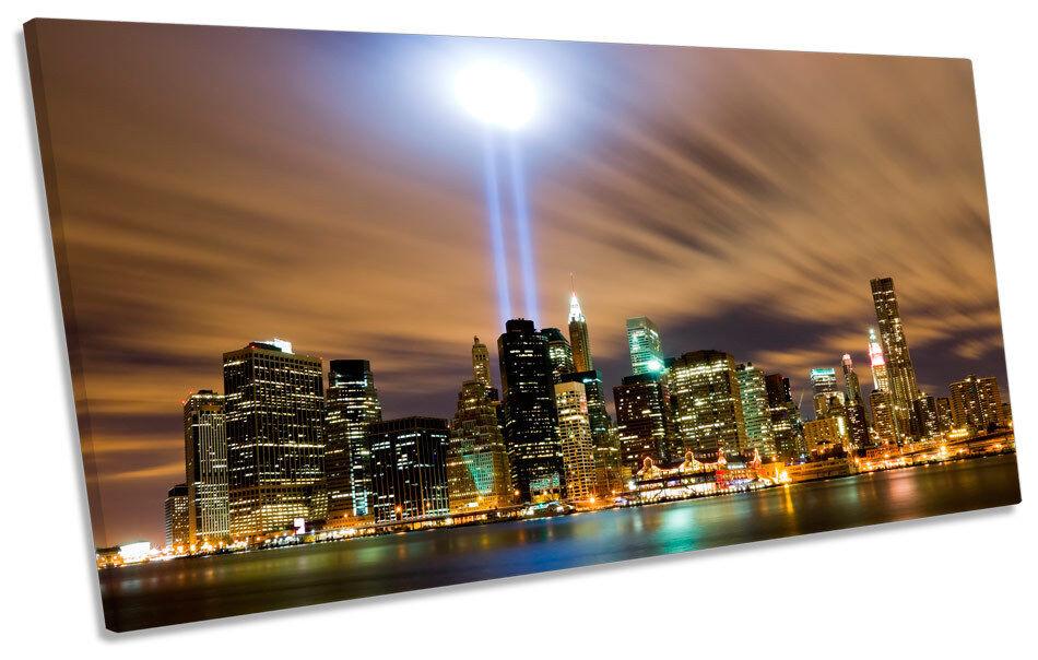 New York Stadt Twin Towers Skyline PANORAMIC BOX FRAME CANVAS Kunst Bild