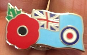 ROYAL AIR FORCE RAF ENSIGN REMEMBRANCE DAY POPPY ENAMEL PIN BADGE