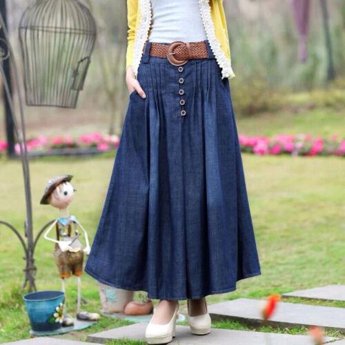 Women's Clothing Women Denim Skirt Stretch New Pleated Long Dress Slim Jean Plus Size Lady 6XL Activewear