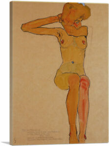 Seated Female Nude with Raised Right Arm 1910 Canvas Art Print by Egon Schiele