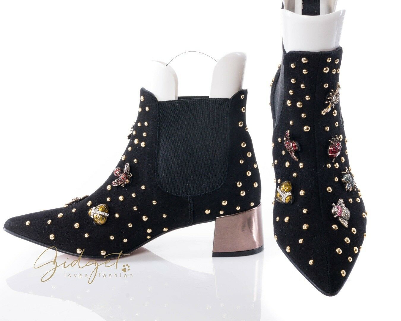 RAS shoes Amalfi Size 38   7 Black Suede Jeweled Bug Booties Ankle Boots