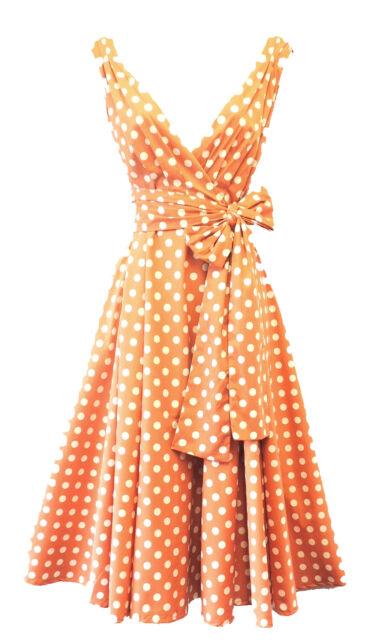 New Rosa Rosa Vintage 1950s style Peach Polka Dot Pin up Swing Tea Dress