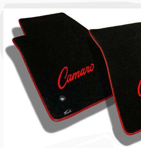 1967-1969 Camaro Floor Mats Black Set Carpet Embroidered Logo Red Binding 4 NEW