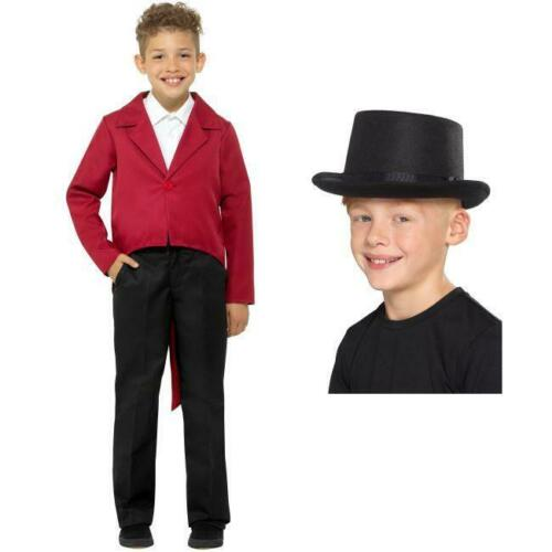 HAT CHILDRENS THE GREATEST SHOWMAN RING MASTER RED JACKET FANCY DRESS COSTUME