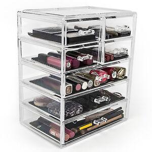 Image is loading Acrylic-Makeup-Organizer-Drawer-Case-Cosmetic-Storage-Box-