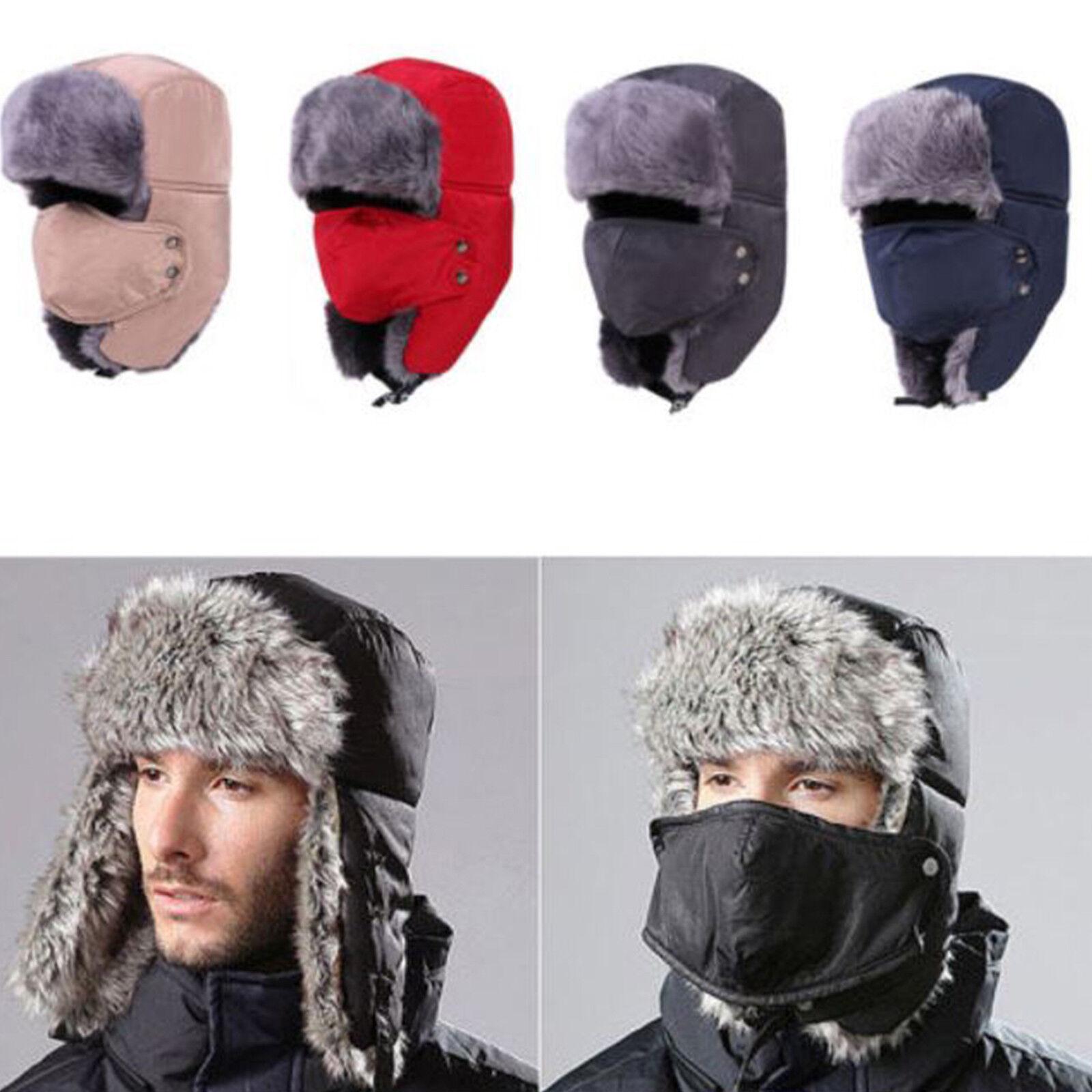 Herren Flieger Polizeimütze Wintermütze Trapper Skimütze Winddicht Warm Hüte ✅