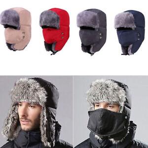Image is loading Mens-Winter-Fur-Ushanka-Trapper-Hat-Aviator-Earflap- 3a5637b6c8c5